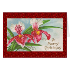 Vintage Christmas Orchids Card at Zazzle