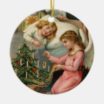 Vintage Christmas Double-Sided Ceramic Round Christmas Ornament