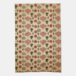Vintage Christmas Ornament Pattern Towel