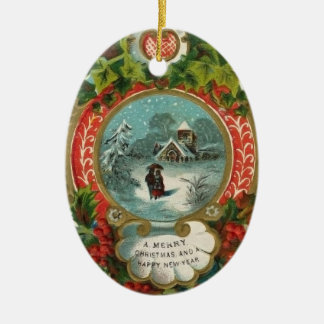 Vintage Christmas Ornaments - Couple Walking Snow