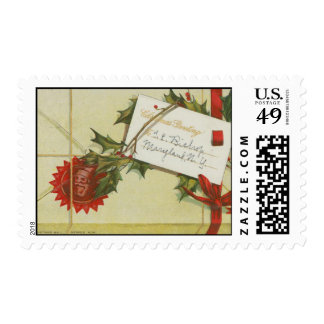 Vintage Christmas Package Postage