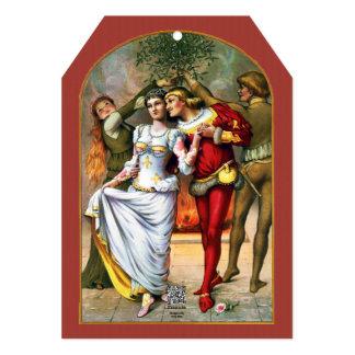 Vintage Christmas Painting Under the Mistletoe Card