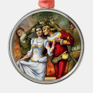 Vintage Christmas Painting Under the Mistletoe Metal Ornament