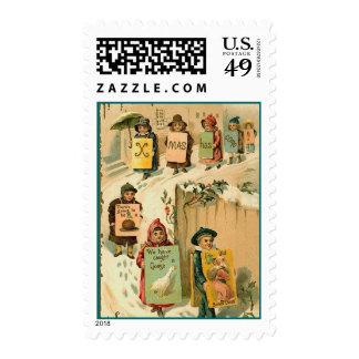 Vintage Christmas Parade of Kids Postage Stamp