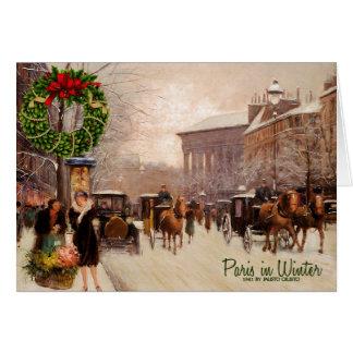 Vintage Christmas Paris   Winter Greeting Card