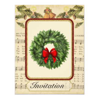 Vintage Christmas Party Invitation with Christmas