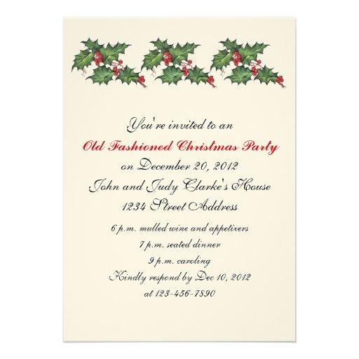 Retro Christmas Party Invitations: Vintage Christmas Party Invitations Holly