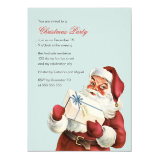 Vintage Christmas Party Jolly Santa Blue Holiday Personalized Invitation