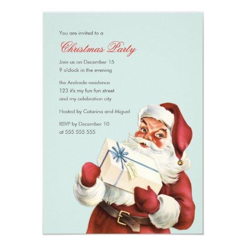 Vintage Christmas Party Jolly Santa Blue Holiday Invitation