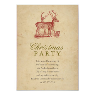 Vintage Christmas Party Red Deer Rustic Holiday 4.5x6.25 Paper Invitation Card