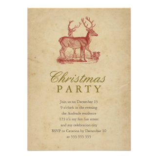 Vintage Christmas Party Red Deer Rustic Holiday Custom Invitation