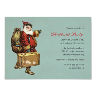 Vintage Christmas Party Santa Claus Green Holiday 4.5x6.25 Paper Invitation Card