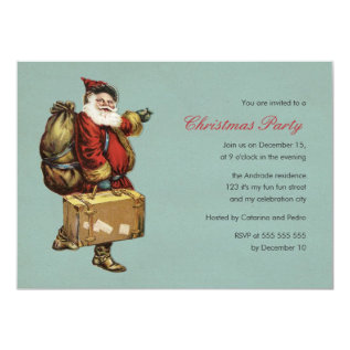Vintage Christmas Party Santa Claus Green Holiday Card at Zazzle