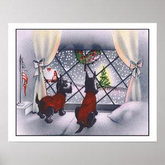 Vintage Christmas Patriotic Scottie Dogs Poster