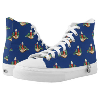 Vintage Christmas Pattern, Candles and Holly High-Top Sneakers