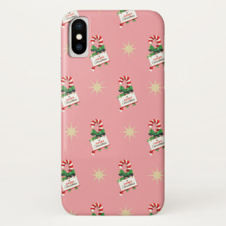 Vintage Christmas Pattern, Candy Canes with Pink iPhone X Case