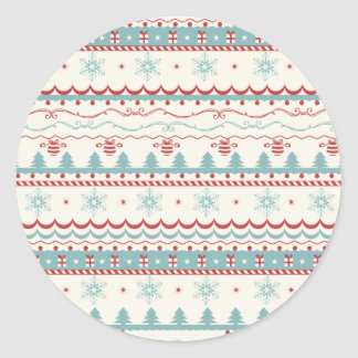 Vintage Christmas pattern Classic Round Sticker