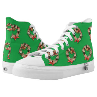 Vintage Christmas Pattern, Floral Wreaths on Green High-Top Sneakers