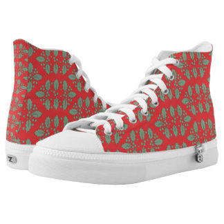 Vintage Christmas Pattern, Green Red Holly Berries High-Top Sneakers