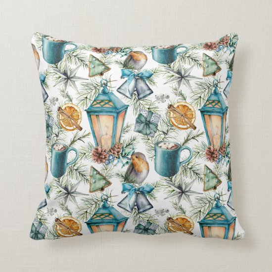 Vintage Christmas Pattern in Teal and Ivory Throw Pillow