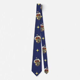 Vintage Christmas Pattern with a Lantern on Blue Tie