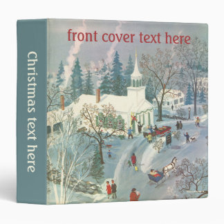 Vintage Christmas, People Going to Church in Snow 3 Ring Binder