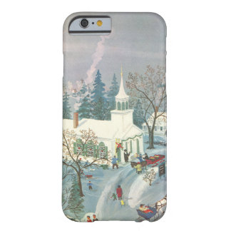 Vintage Christmas, People Going to Church in Snow Barely There iPhone 6 Case