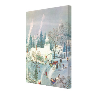 Vintage Christmas, People Going to Church in Snow Canvas Print
