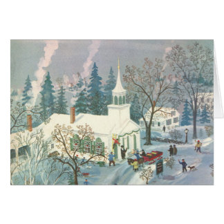 Vintage Christmas, People Going to Church in Snow Card