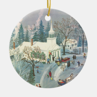 Vintage Christmas, People Going to Church in Snow Ceramic Ornament