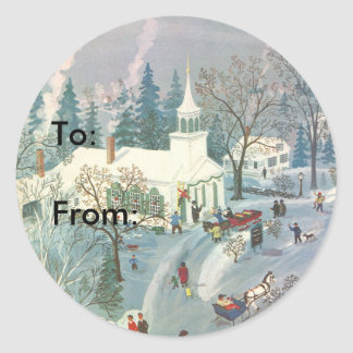 Vintage Christmas, People Going to Church in Snow Classic Round Sticker