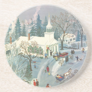 Vintage Christmas, People Going to Church in Snow Drink Coaster