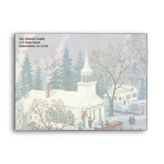 Vintage Christmas, People Going to Church in Snow Envelope