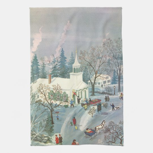 Vintage Christmas, People Going to Church in Snow Kitchen Towel