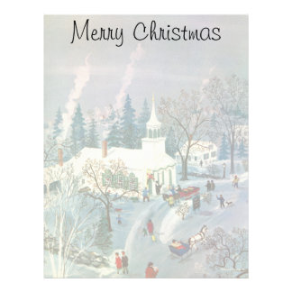 Vintage Christmas, People Going to Church in Snow Letterhead
