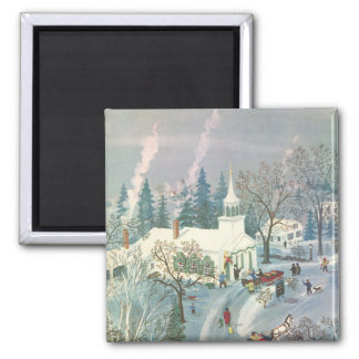 Vintage Christmas, People Going to Church in Snow Magnet