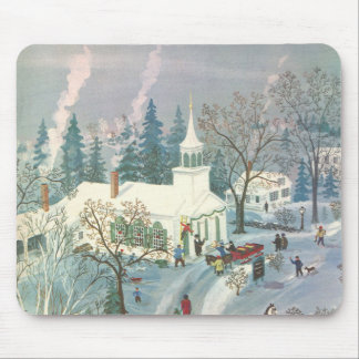 Vintage Christmas, People Going to Church in Snow Mouse Pad