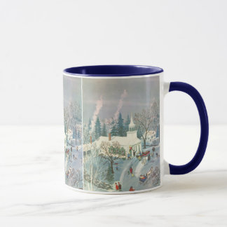 Vintage Christmas, People Going to Church in Snow Mug
