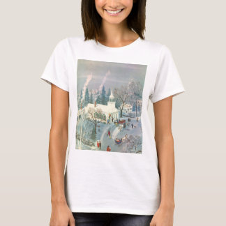 Vintage Christmas, People Going to Church in Snow T-Shirt