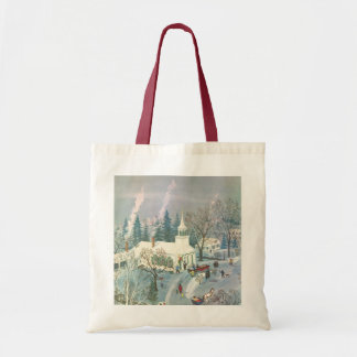 Vintage Christmas, People Going to Church in Snow Tote Bag
