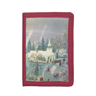 Vintage Christmas, People Going to Church in Snow Trifold Wallet