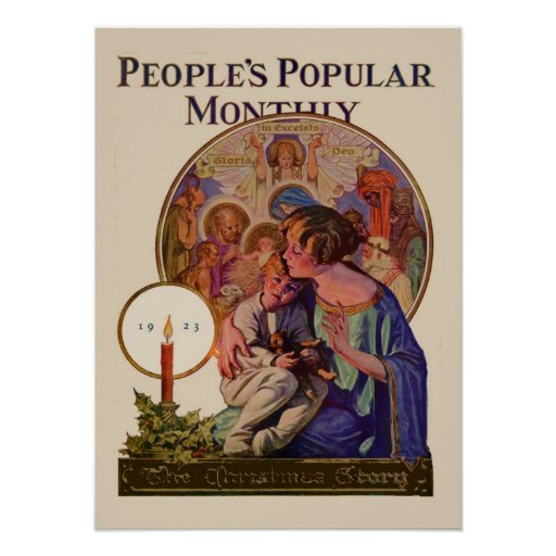 Vintage Christmas Peoples Popular Monthly 1923 Poster