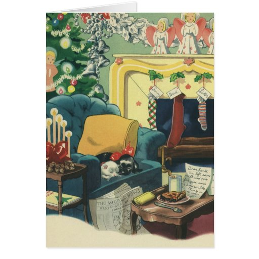 Vintage Christmas Pets in the Living Room Card