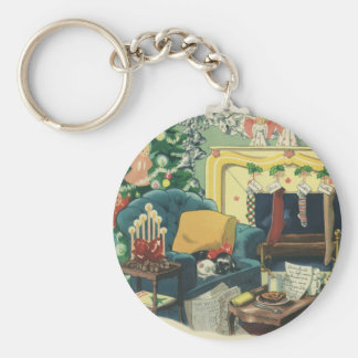 Vintage Christmas Pets in the Living Room Basic Round Button Keychain