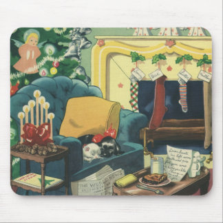 Vintage Christmas Pets in the Living Room Mouse Pad