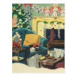 Vintage Christmas Pets in the Living Room Postcard