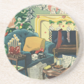 Vintage Christmas Pets in the Living Room Sandstone Coaster