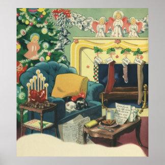 Vintage Christmas Pets Print
