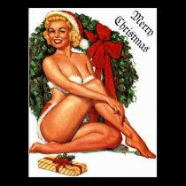 Vintage Christmas Pinup Girl Postcard