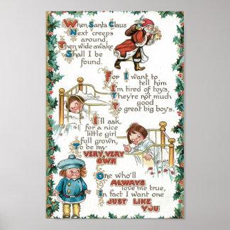 Vintage Christmas Poem Poster
